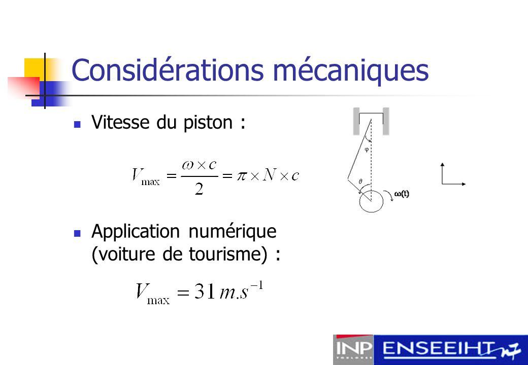 Considérations mécaniques