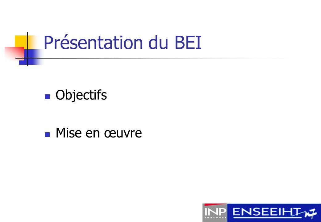 Présentation du BEI Objectifs Mise en œuvre