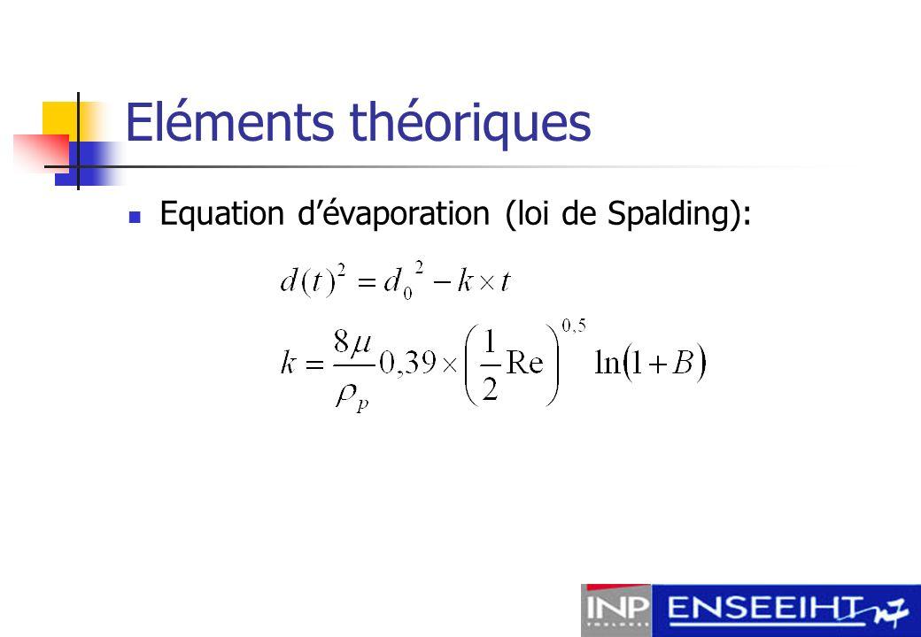 Eléments théoriques Equation d'évaporation (loi de Spalding):