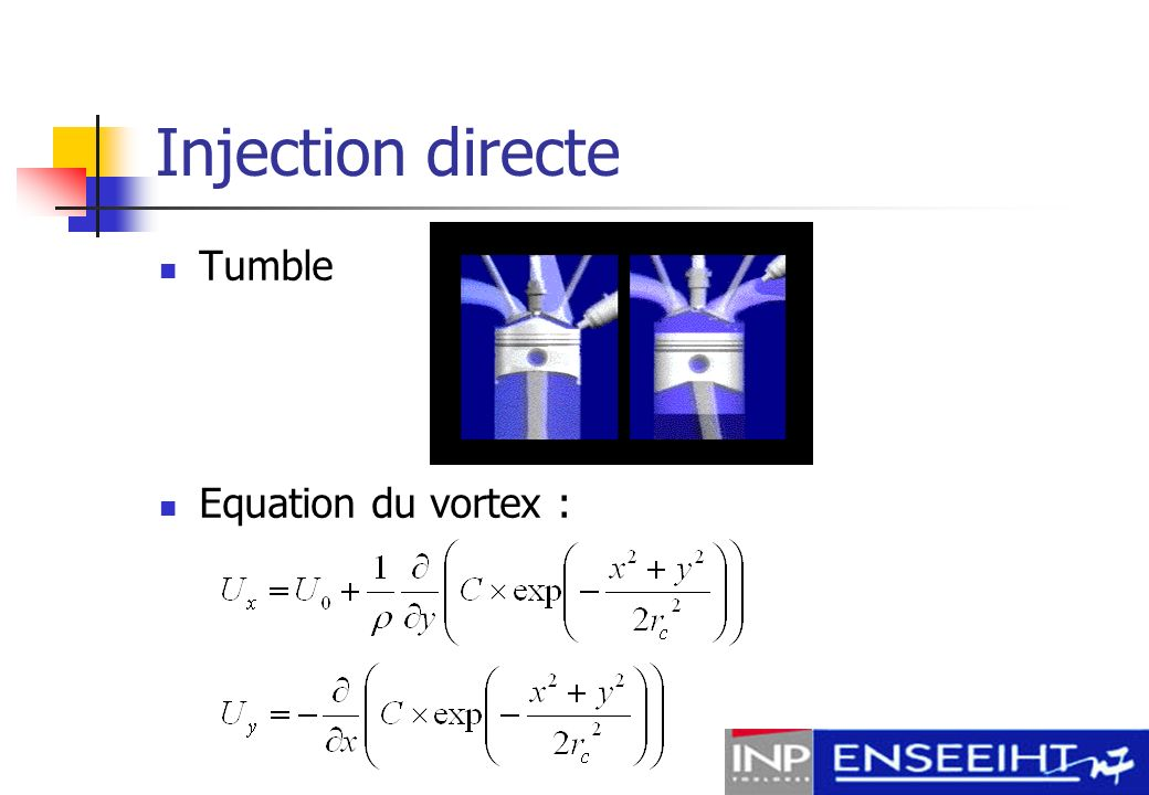 Injection directe Tumble Equation du vortex :