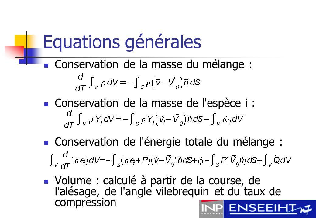 Equations générales Conservation de la masse du mélange :