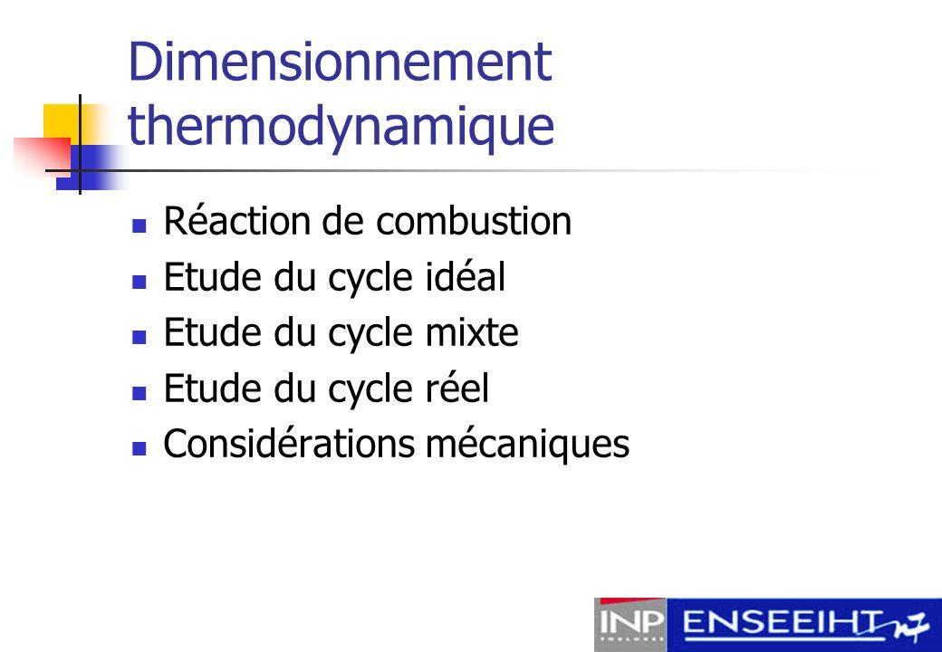Dimensionnement thermodynamique