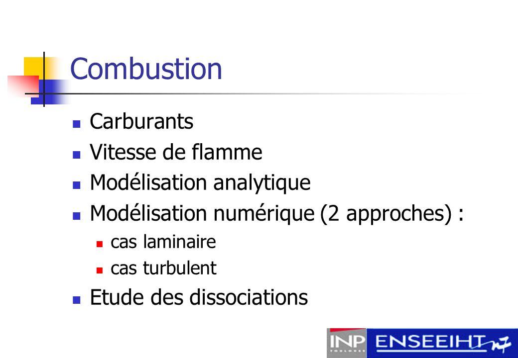 Combustion Carburants Vitesse de flamme Modélisation analytique