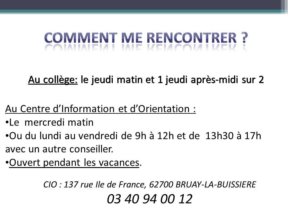 CIO : 137 rue Ile de France, 62700 BRUAY-LA-BUISSIERE
