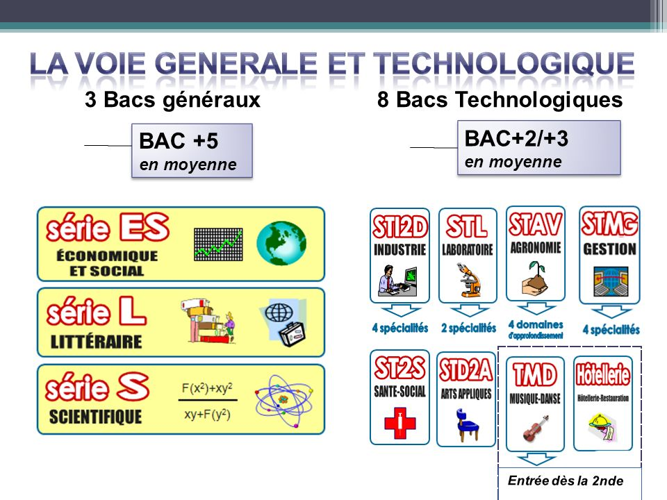 3 Bacs généraux 8 Bacs Technologiques BAC +5 BAC+2/+3 en moyenne