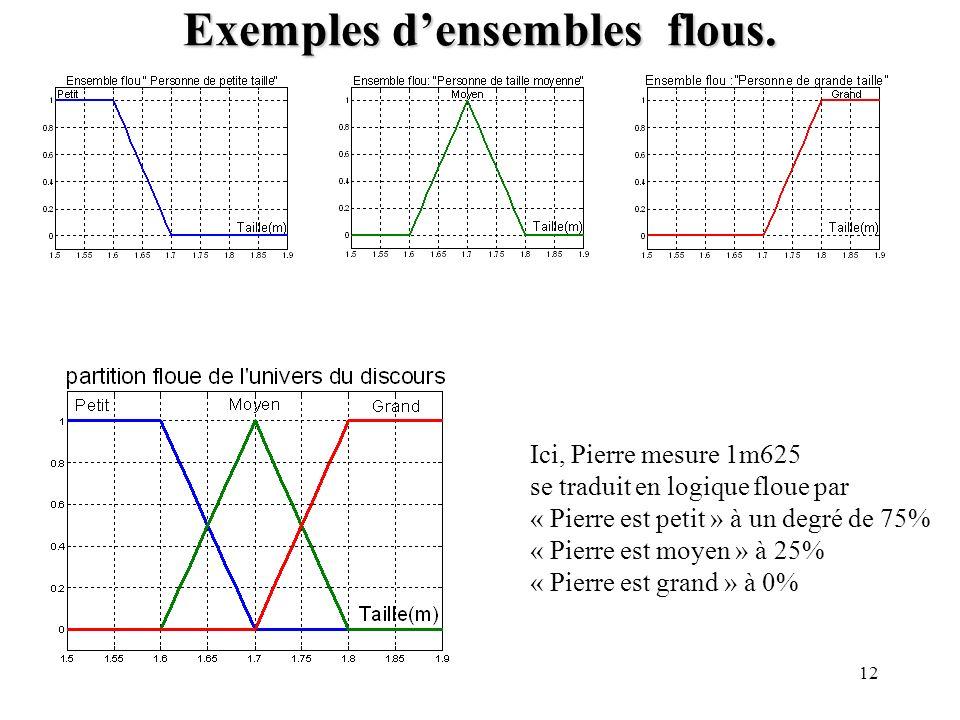 Exemples d'ensembles flous.