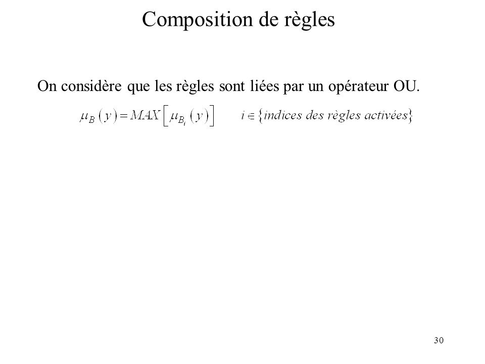 Composition de règles On considère que les règles sont liées par un opérateur OU.