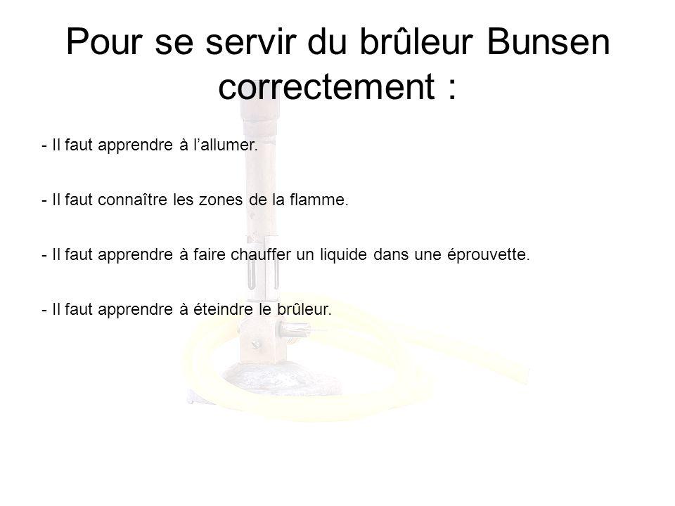 Pour se servir du brûleur Bunsen correctement :