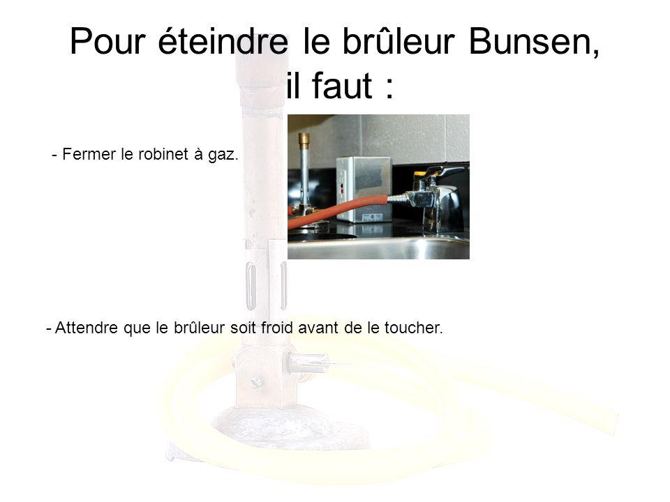 Pour éteindre le brûleur Bunsen, il faut :