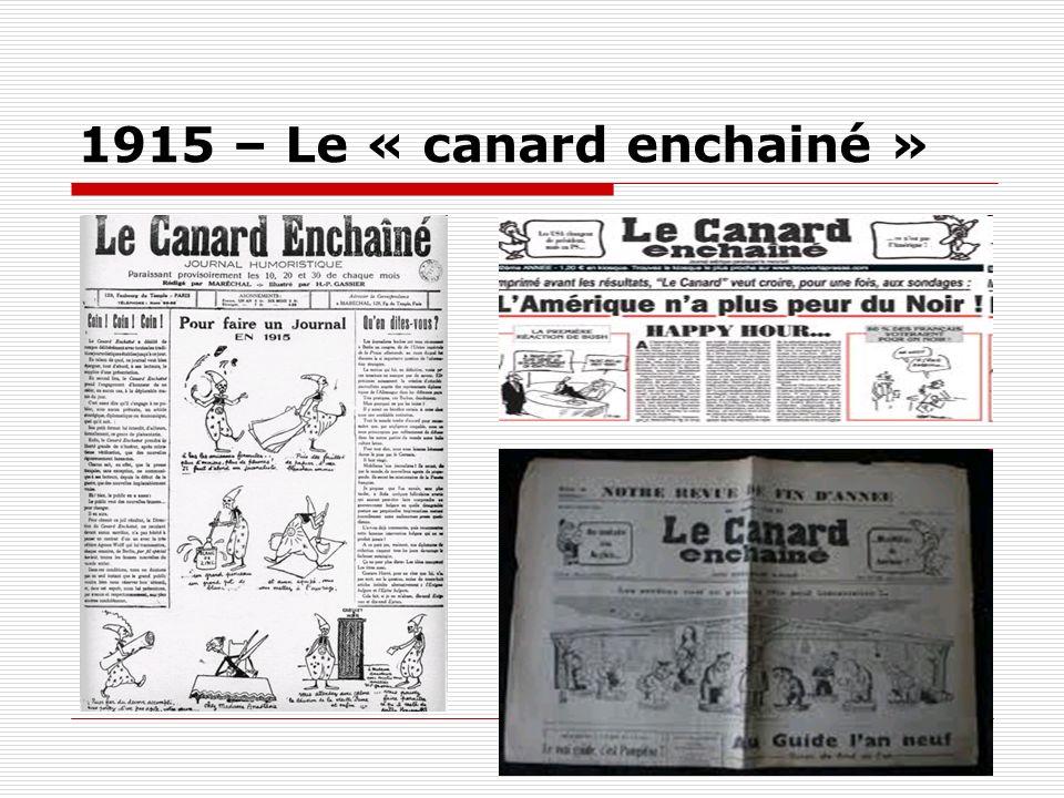 1915 – Le « canard enchainé »