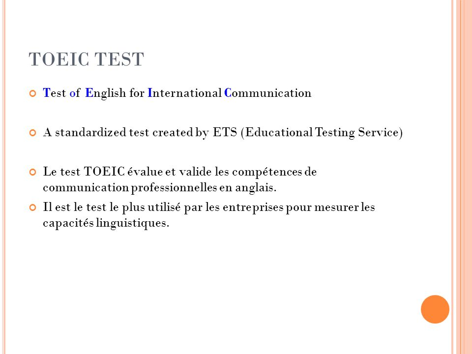 TOEIC TEST Test of English for International Communication