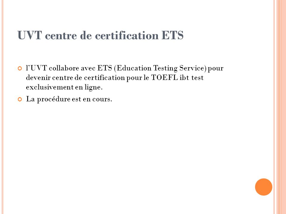 UVT centre de certification ETS