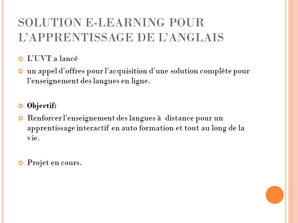 SOLUTION E-LEARNING POUR L'APPRENTISSAGE DE L'ANGLAIS