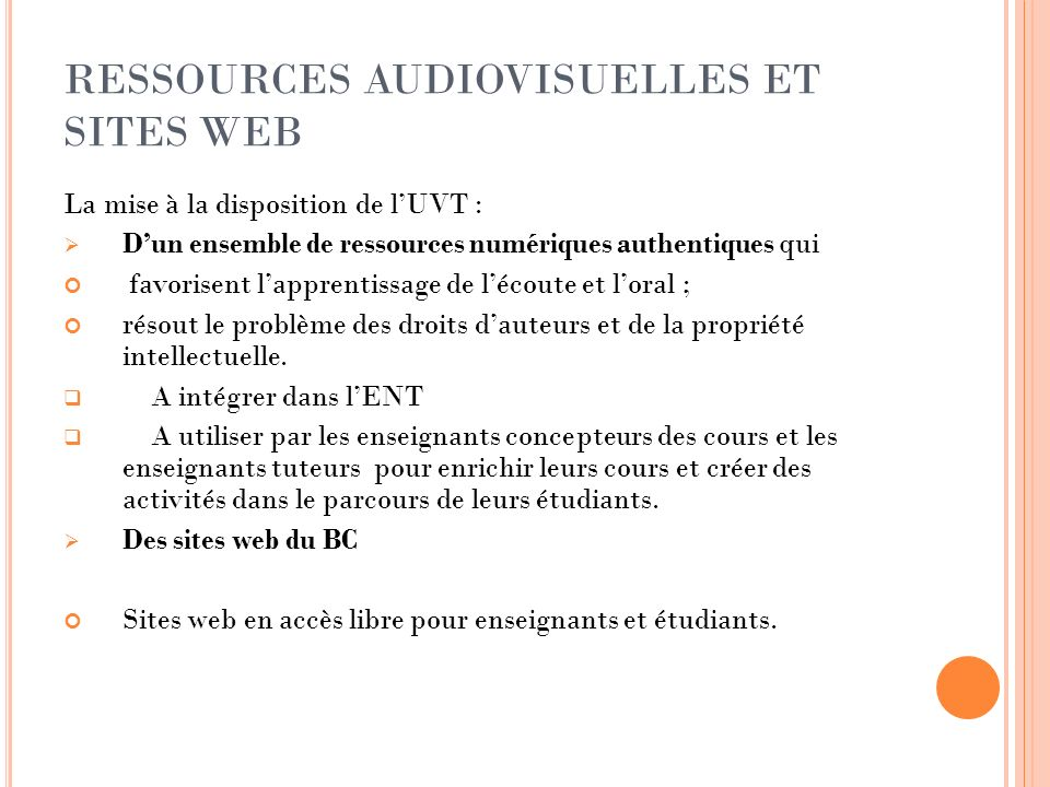 RESSOURCES AUDIOVISUELLES ET SITES WEB