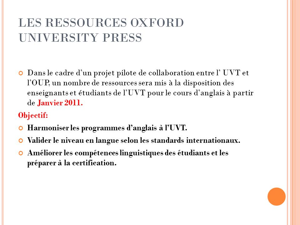 LES RESSOURCES OXFORD UNIVERSITY PRESS