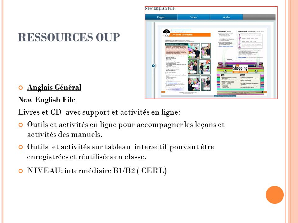 RESSOURCES OUP Anglais Général New English File