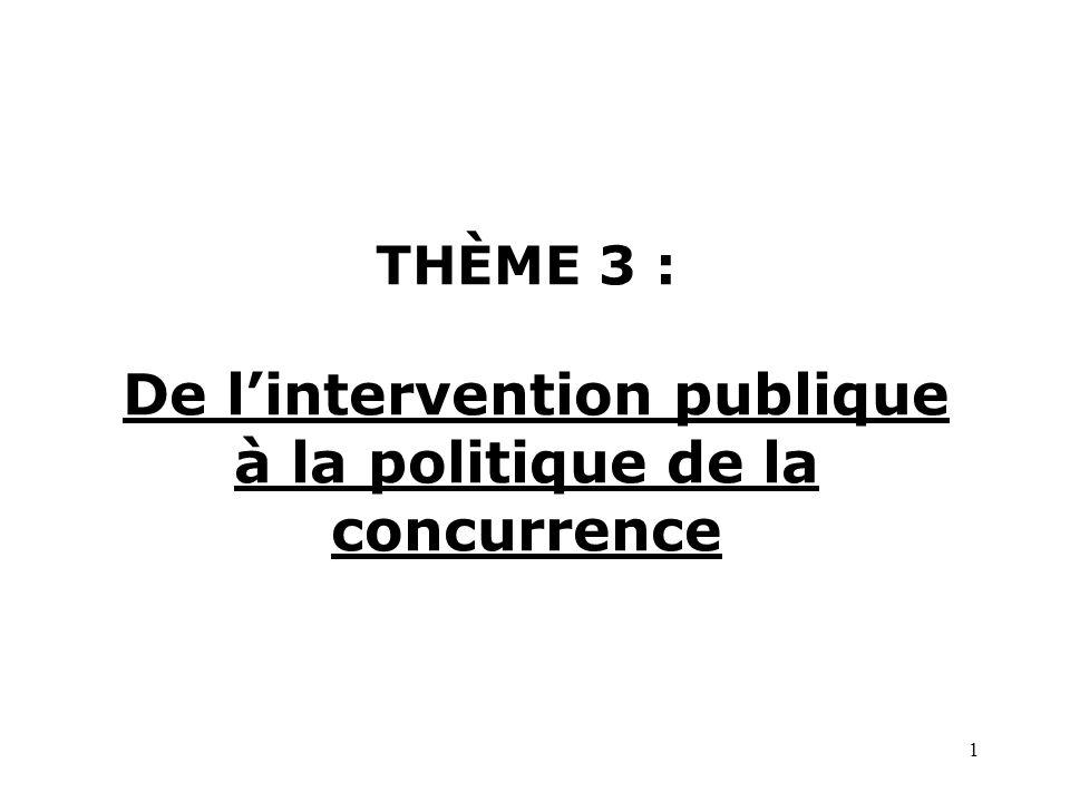 THÈME 3 : De l'intervention publique à la politique de la concurrence