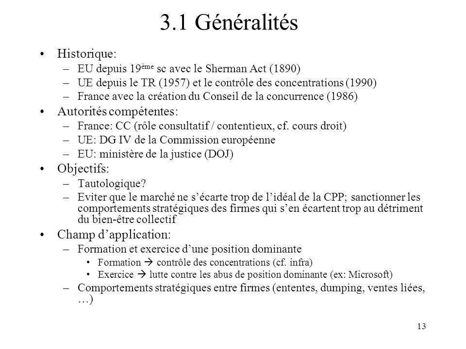 3.1 Généralités Historique: Autorités compétentes: Objectifs: