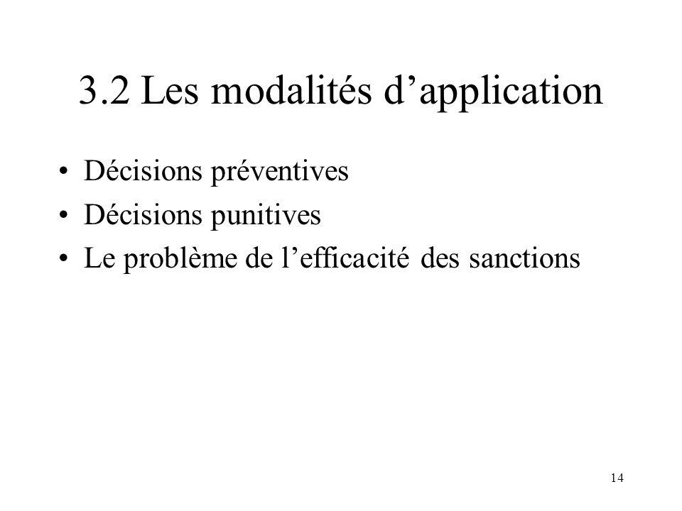 3.2 Les modalités d'application