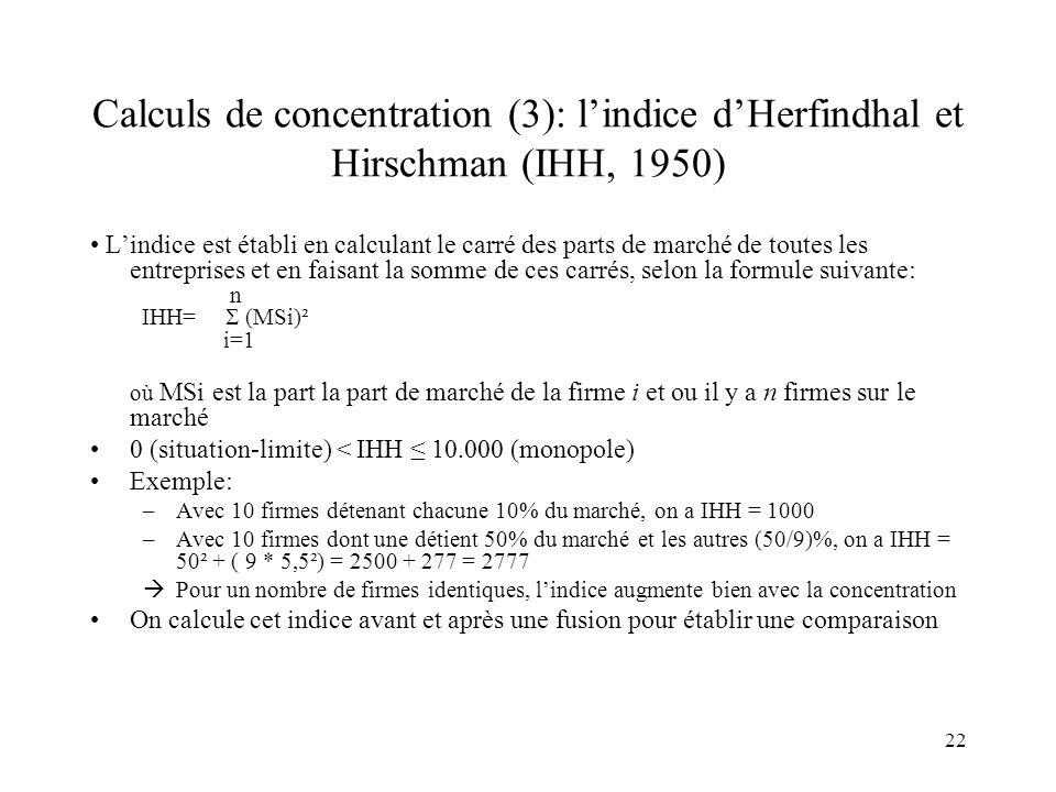 Calculs de concentration (3): l'indice d'Herfindhal et Hirschman (IHH, 1950)
