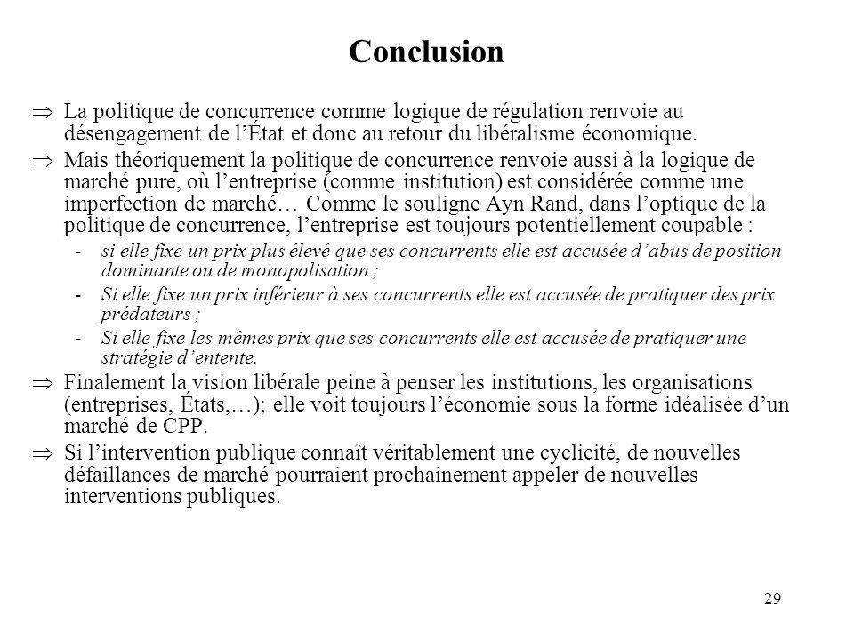 Conclusion La politique de concurrence comme logique de régulation renvoie au désengagement de l'État et donc au retour du libéralisme économique.