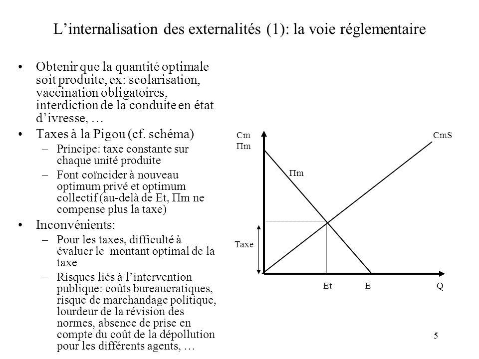 L'internalisation des externalités (1): la voie réglementaire