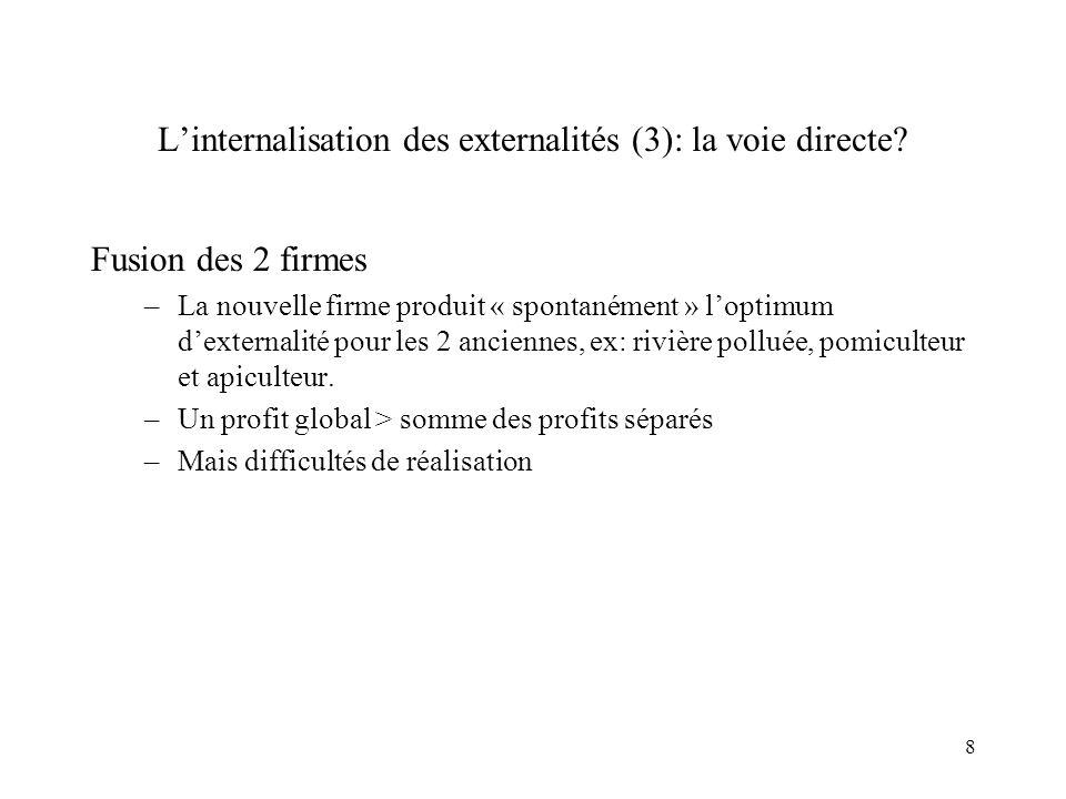 L'internalisation des externalités (3): la voie directe
