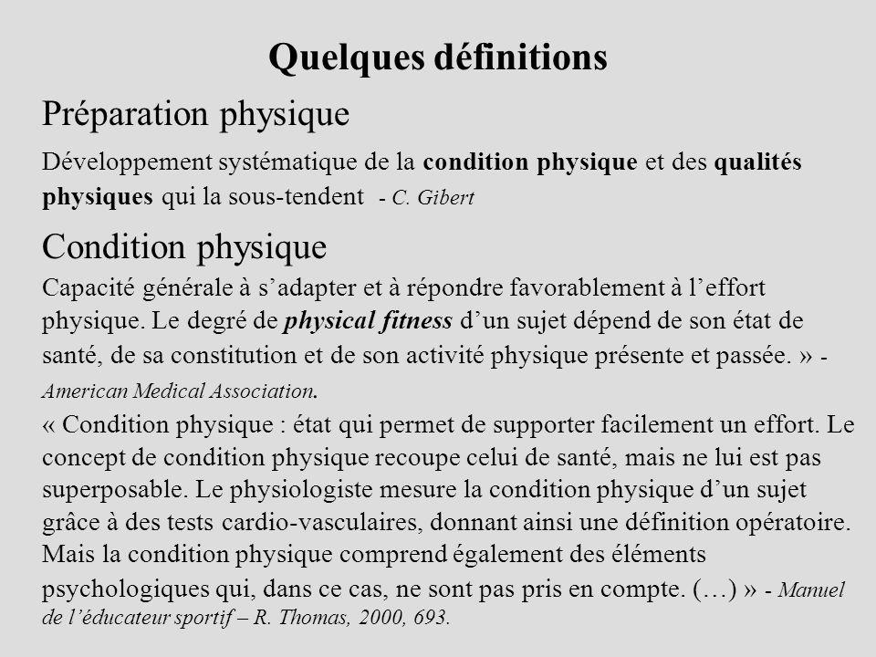 Quelques définitions Préparation physique Condition physique