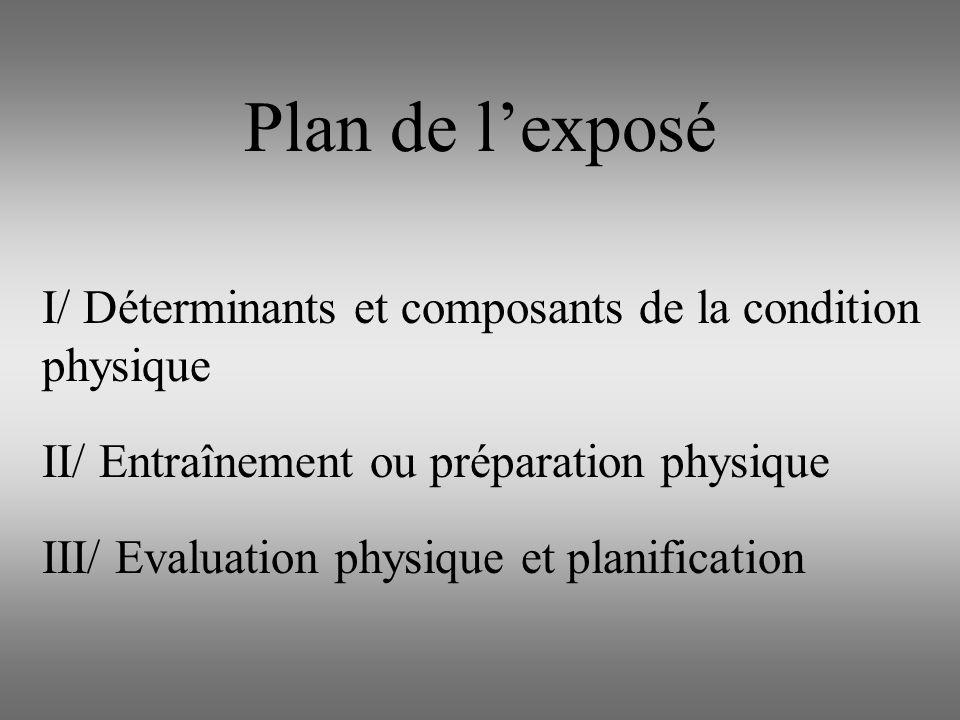 Plan de l'exposé I/ Déterminants et composants de la condition physique. II/ Entraînement ou préparation physique.