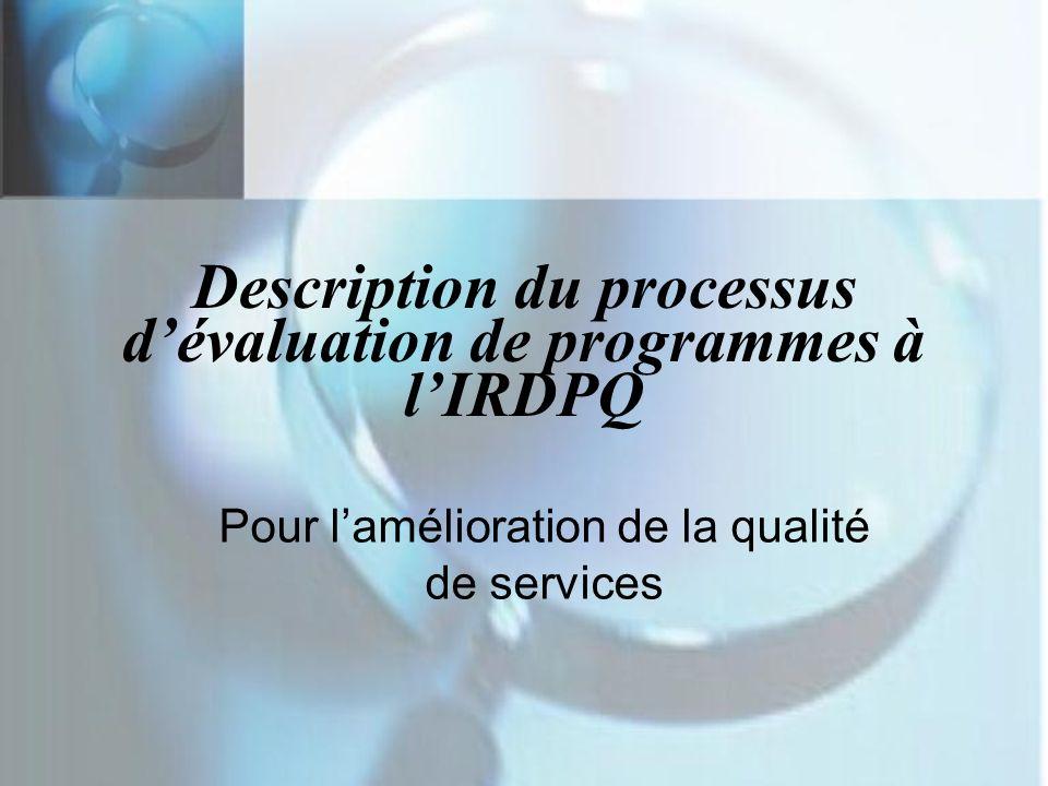 Description du processus d'évaluation de programmes à l'IRDPQ