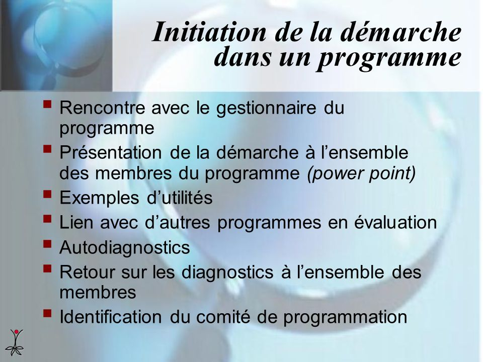 Initiation de la démarche dans un programme