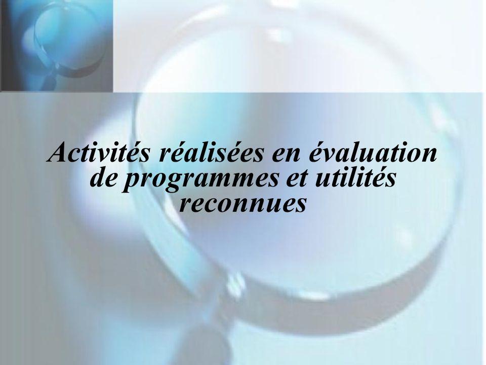 Activités réalisées en évaluation de programmes et utilités reconnues