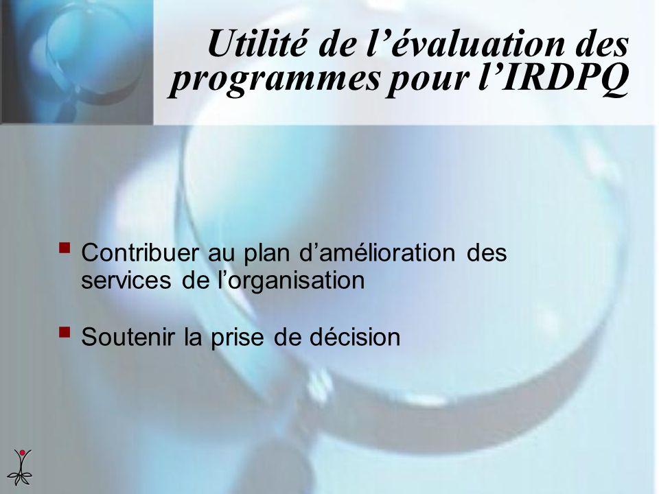 Utilité de l'évaluation des programmes pour l'IRDPQ