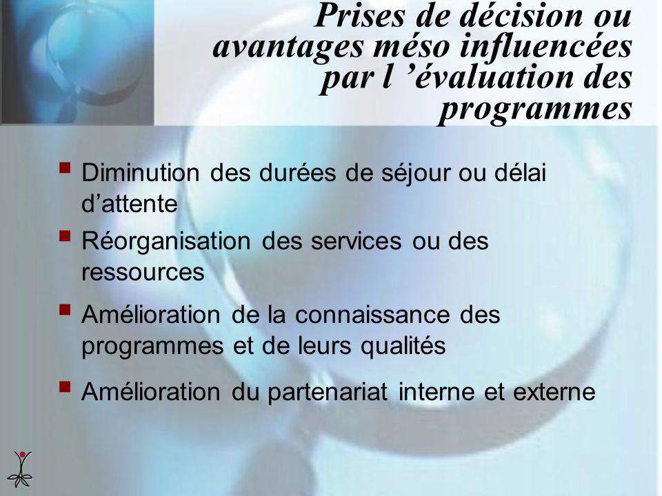 Prises de décision ou avantages méso influencées par l 'évaluation des programmes