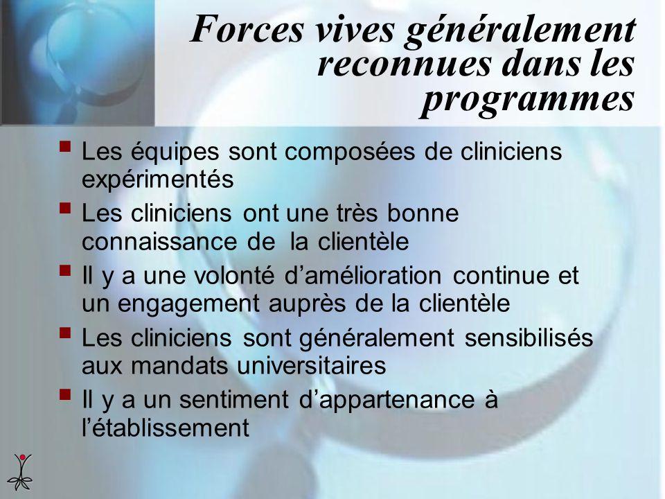 Forces vives généralement reconnues dans les programmes