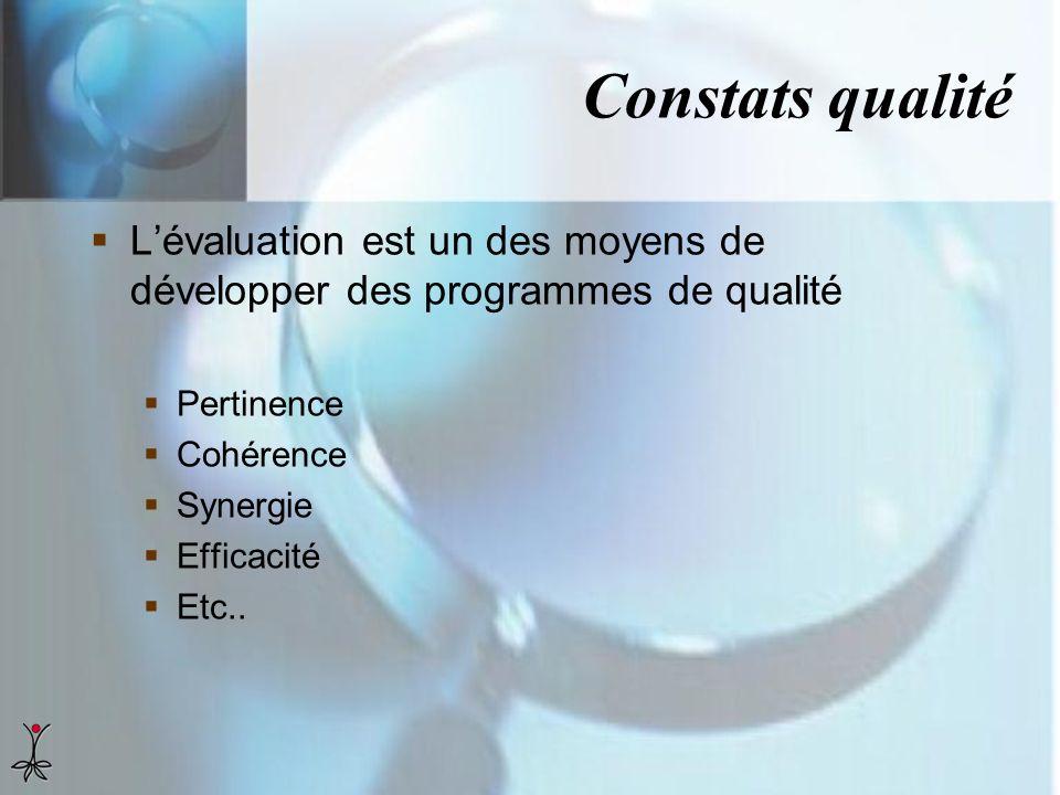 Constats qualité L'évaluation est un des moyens de développer des programmes de qualité. Pertinence.