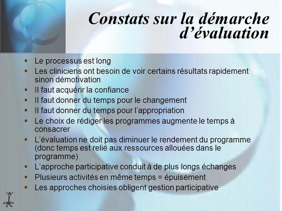 Constats sur la démarche d'évaluation