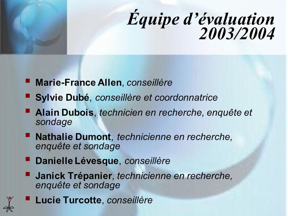 Équipe d'évaluation 2003/2004 Marie-France Allen, conseillère