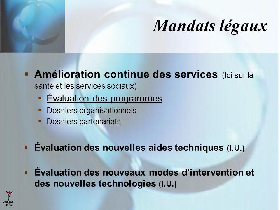 Mandats légaux Amélioration continue des services (loi sur la santé et les services sociaux) Évaluation des programmes.