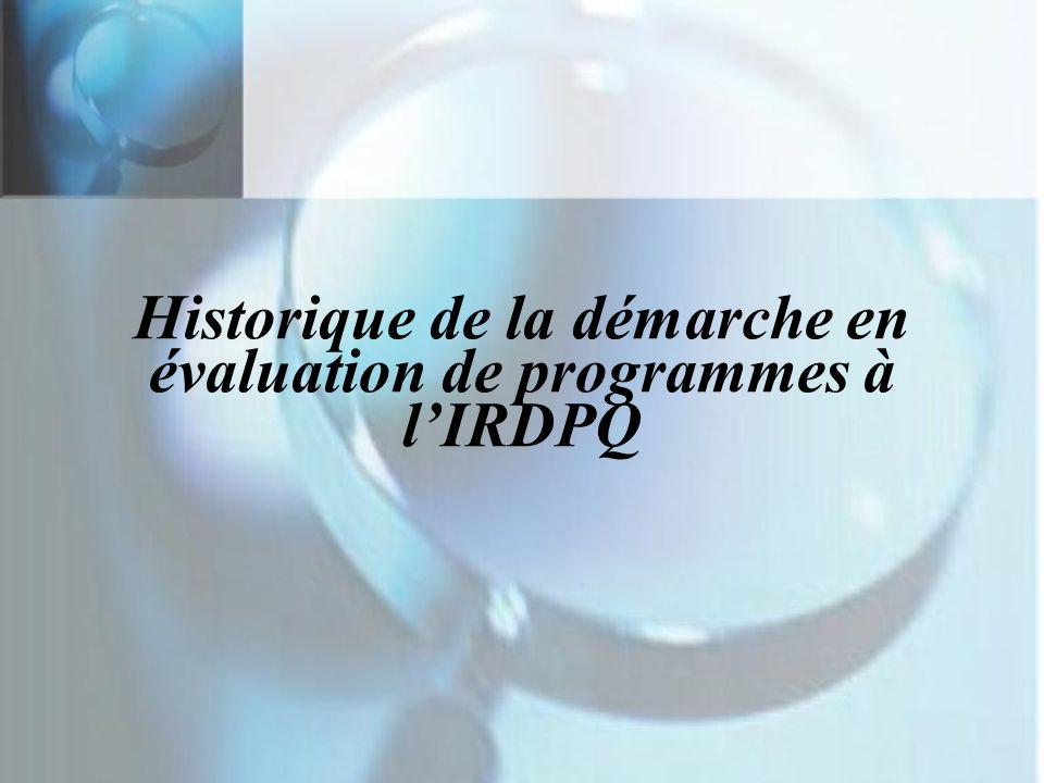 Historique de la démarche en évaluation de programmes à l'IRDPQ