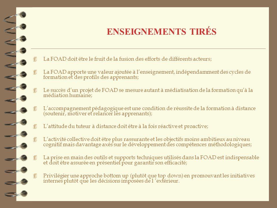 ENSEIGNEMENTS TIRÉS La FOAD doit être le fruit de la fusion des efforts de différents acteurs;