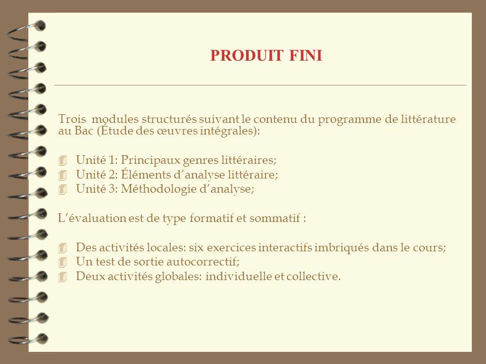 PRODUIT FINI Trois modules structurés suivant le contenu du programme de littérature au Bac (Étude des œuvres intégrales):
