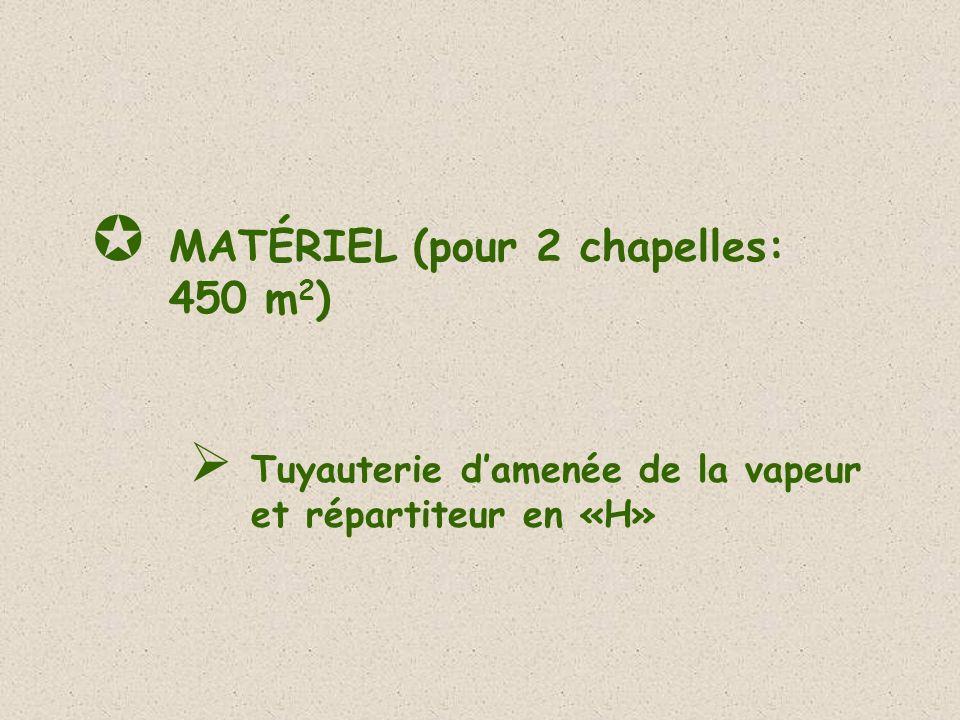 MATÉRIEL (pour 2 chapelles: 450 m2)
