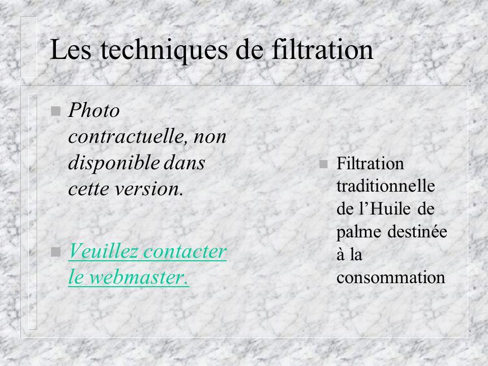 Les techniques de filtration