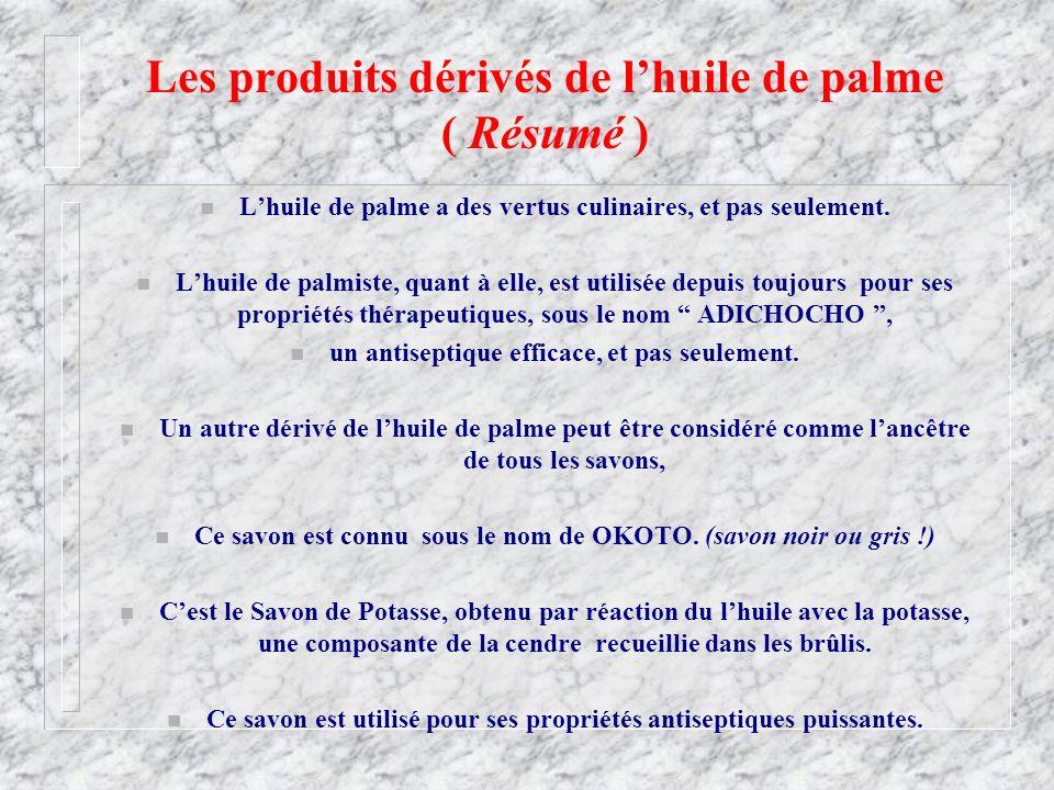 Les produits dérivés de l'huile de palme ( Résumé )