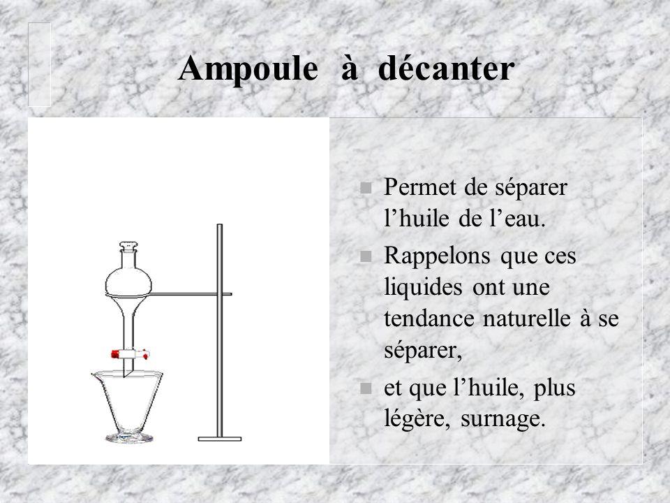 Ampoule à décanter Permet de séparer l'huile de l'eau.