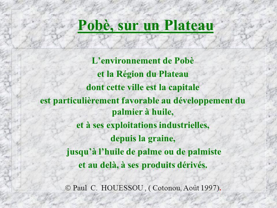 Pobè, sur un Plateau L'environnement de Pobè et la Région du Plateau