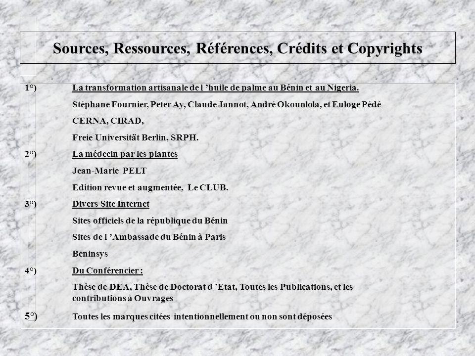 Sources, Ressources, Références, Crédits et Copyrights