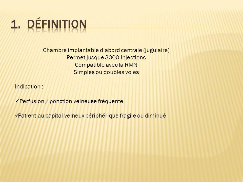 1. Définition Chambre implantable d'abord centrale (jugulaire)