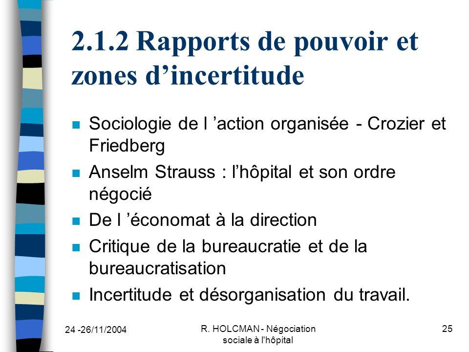 2.1.2 Rapports de pouvoir et zones d'incertitude